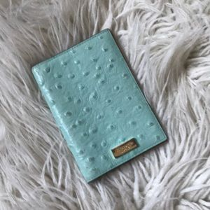 Kate spade passport cover blue ostrich